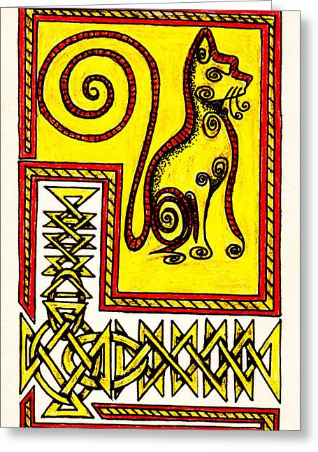 Illuminate Drawings Greeting Cards - Illuminated Cat Greeting Card by Michael Lee