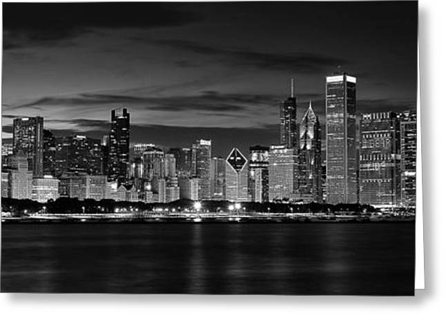 View. Chicago Greeting Cards - Illuminated Chicago Skyline Greeting Card by Andrew Soundarajan