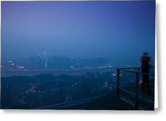 Looking At View Greeting Cards - Illuminated City Viewed From Yikeshu Greeting Card by Panoramic Images
