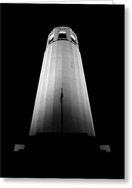 Historical Images Pyrography Greeting Cards - Illuminated Coit Tower Sfc Greeting Card by Fabien White