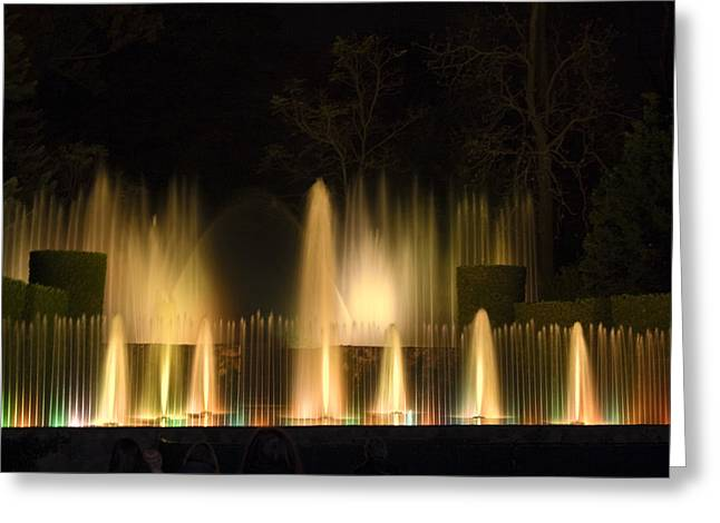 Open Air Theater Greeting Cards - Illuminated Dancing Fountains Greeting Card by Sally Weigand