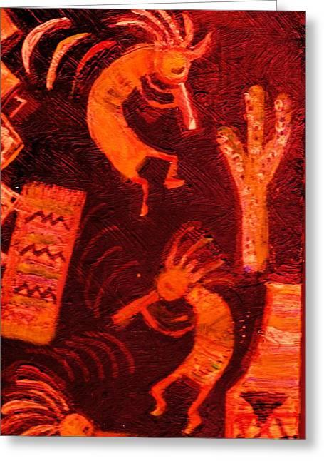 Lengendary Greeting Cards - Illuminated Kokopellis Greeting Card by Anne-Elizabeth Whiteway
