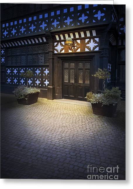 Illuminate Greeting Cards - Illuminated Lamp Above The Doorway Of A Timber Framed Tudor Buil Greeting Card by Lee Avison