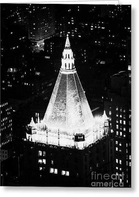 Manhatan Greeting Cards - Illuminated Night View Of New York Life Insurance Co Building Roof New York City Greeting Card by Joe Fox