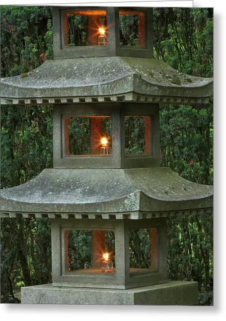 Illuminated Stone  Pagoda Lantern Greeting Card by William Sutton