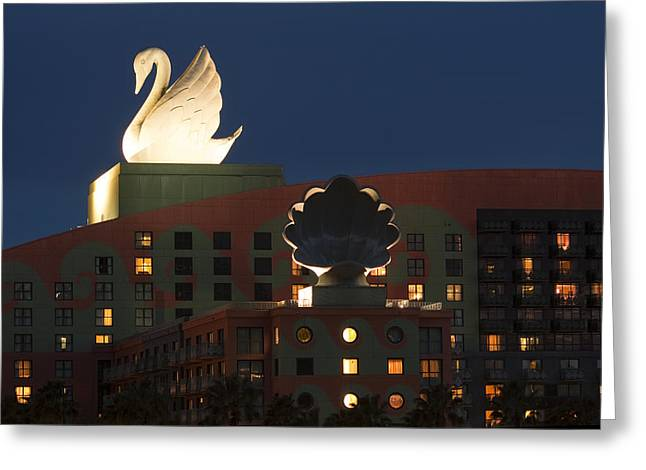 Disney Photographs Greeting Cards - Illuminated Swan Hotel Greeting Card by Andrew Soundarajan