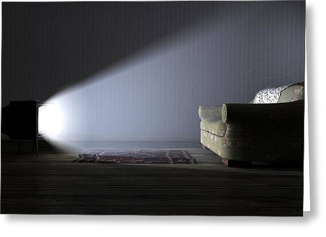 Doily Greeting Cards - Illuminated Television And Lonely Old Couch Greeting Card by Allan Swart