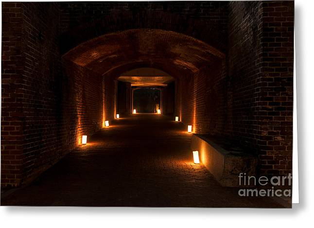 Beach At Night Greeting Cards - Illuminated Tunnel Fort Clinch State Park Florida Greeting Card by Dawna  Moore Photography
