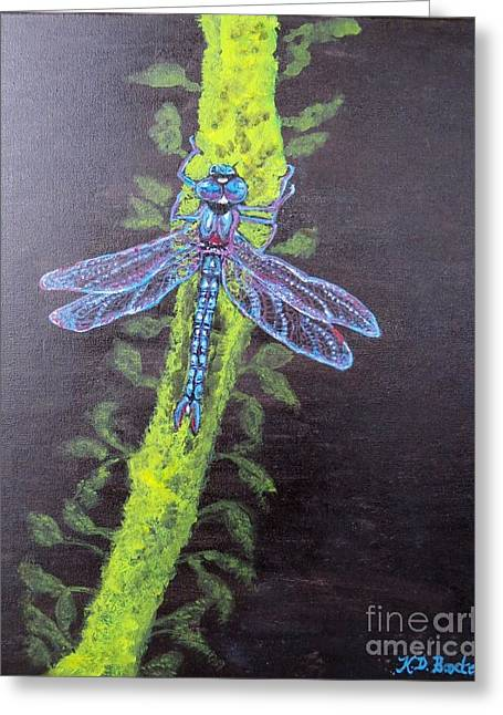 Illumination Of A Blue Dragonfly's Form At Nightfall Painting Greeting Card by Kimberlee Baxter