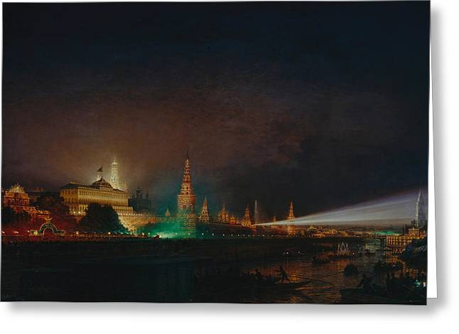 Moscow Paintings Greeting Cards - Illumination of the Kremlin Greeting Card by Aleksei Petrovich Bogolyubov