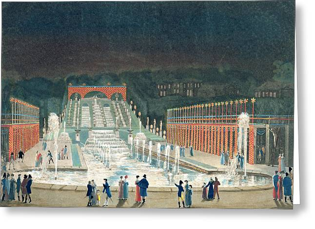 Up-light Greeting Cards - Illumination Of The Saint-cloud Fountain, 1st April 1810 Etching & Aquatint On Paper Greeting Card by Philibert Louis Debucourt