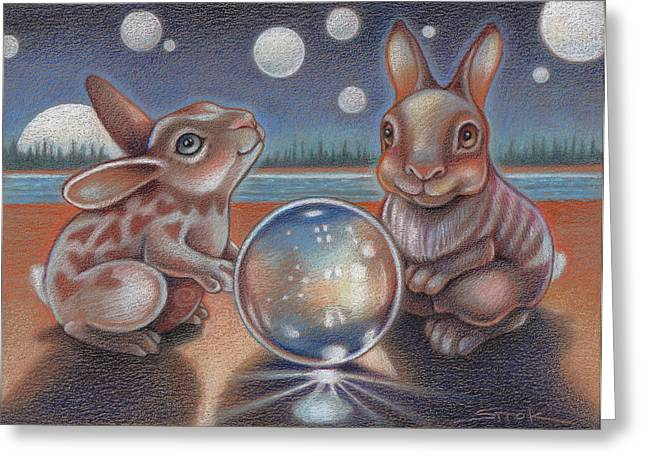 Bunny Greeting Cards - Illumination Greeting Card by Susan Helen Strok