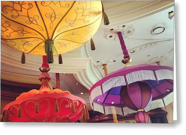 Umbrella Pyrography Greeting Cards - Illumination Greeting Card by Yaer Efrim