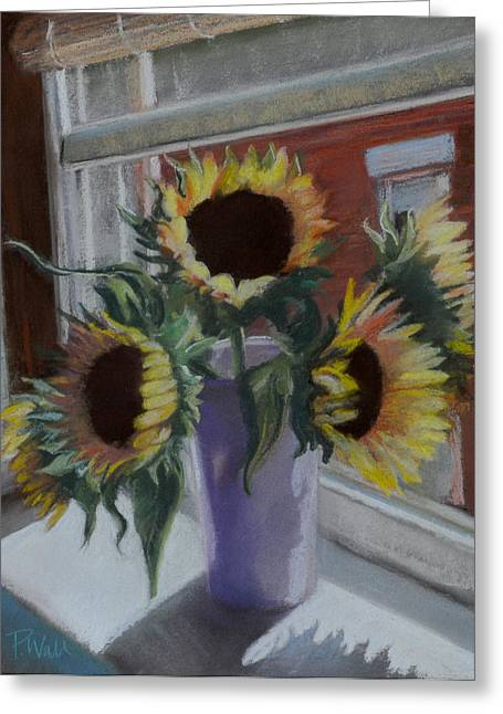 Sunflowers Pastels Greeting Cards - Illumine Greeting Card by Pattie Wall