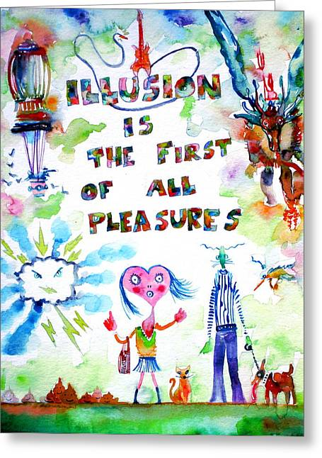 Oscar Wilde Paintings Greeting Cards - Illusion Is The First Of All Pleasures Greeting Card by Fabrizio Cassetta