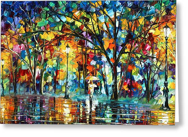 Palette Knife Greeting Cards - Illusion  Greeting Card by Leonid Afremov