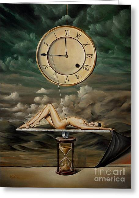 print Paintings Greeting Cards - Illusion Of Time Greeting Card by Svetoslav Stoyanov