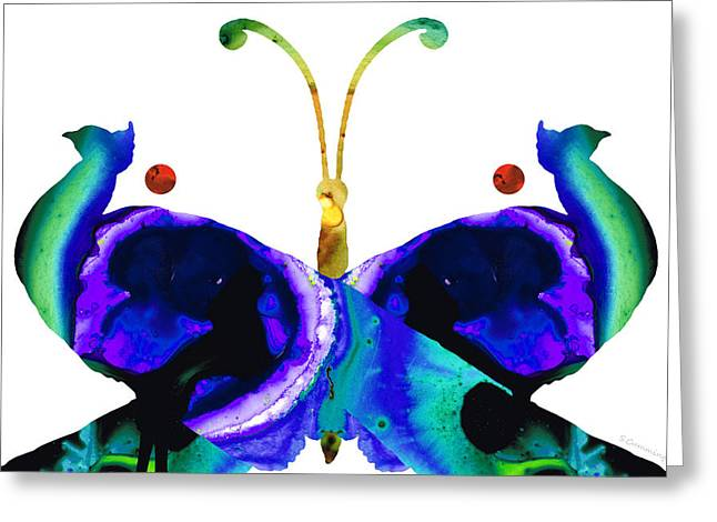 Peacock Greeting Cards - Illusion - Peacock Butterfly Art Painting Greeting Card by Sharon Cummings