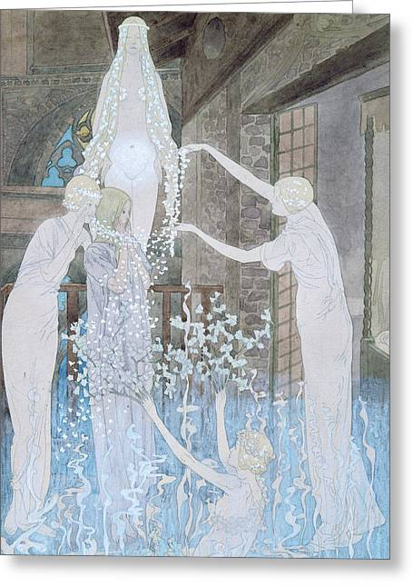 Ghost Illustration Greeting Cards - Illustation from Le Reve Greeting Card by Carlos Schwabe