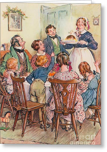 Illustration Greeting Cards - Illustration for A Christmas Carol Greeting Card by Charles Edmund Brock