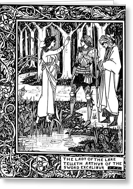 Pen And Ink Drawing Greeting Cards - Illustration For Lady of the Lake Greeting Card by Aubrey Beardsley