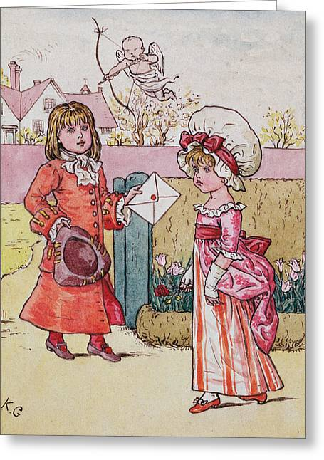 Envelope Greeting Cards - Illustration For St. Valentines Day 1914 Wc On Paper Greeting Card by Kate Greenaway