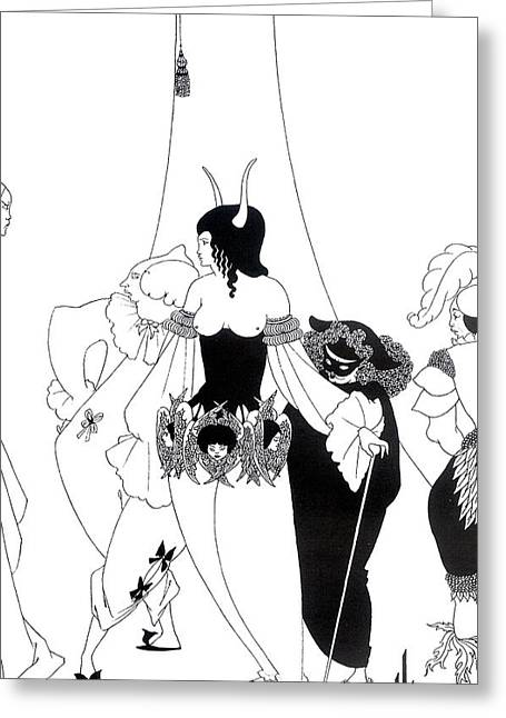 Monochrome Greeting Cards - Illustration for The Masque of the Red Death Greeting Card by Aubrey Beardsley