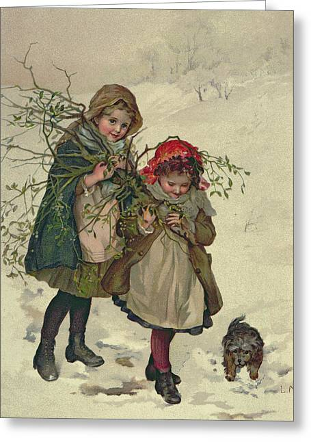 Mistletoe Greeting Cards - Illustration From Christmas Tree Fairy, Pub. 1886 Greeting Card by Lizzie Mack