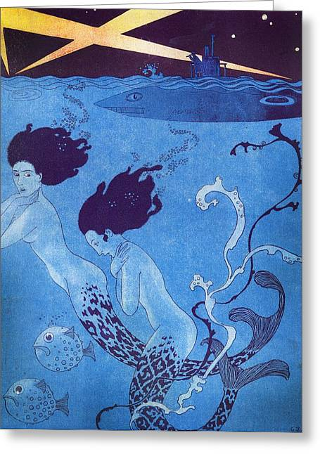 Underwater Mermaid Greeting Cards - Illustration from La Baionnette Greeting Card by Georges Barbier