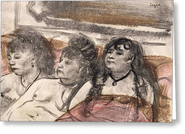 Prostitute Greeting Cards - Illustration From La Maison Tellier Greeting Card by Edgar Degas