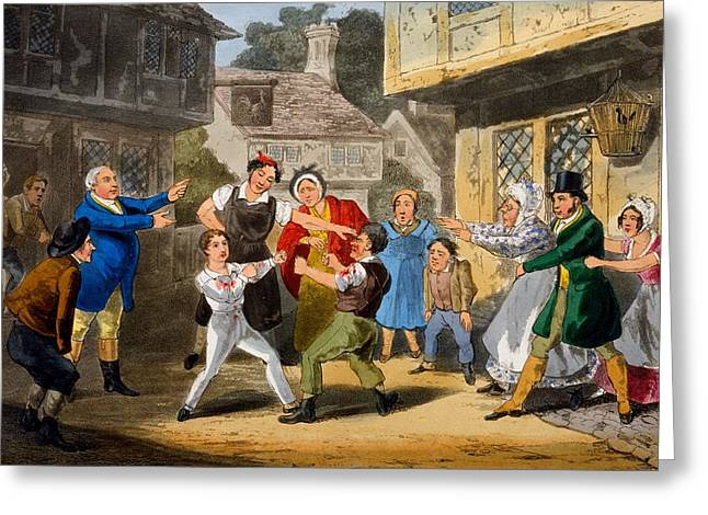 Punching Greeting Cards - Illustration From The Life Greeting Card by Henry Thomas Alken