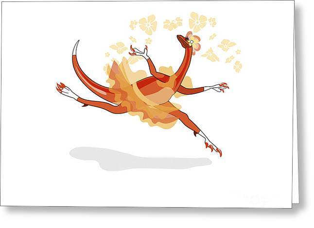 Dromaeosaurid Greeting Cards - Illustration Of A Ballerina Dancing Greeting Card by Stocktrek Images