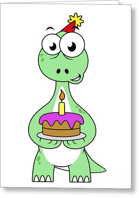 Frosting Digital Greeting Cards - Illustration Of A Brontosaurus Greeting Card by Stocktrek Images