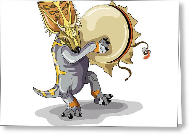 Playing Musical Instruments Greeting Cards - Illustration Of A Chasmosaurus Dancing Greeting Card by Stocktrek Images