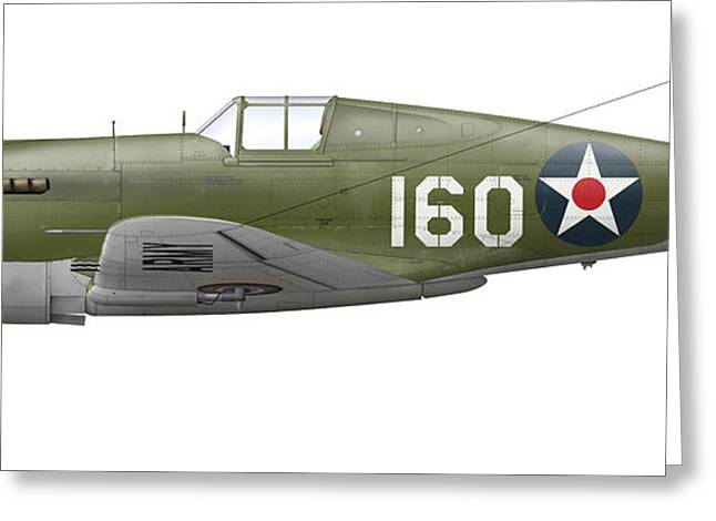 Vector Image Greeting Cards - Illustration Of A Curtis P-40 Warhawk Greeting Card by Inkworm