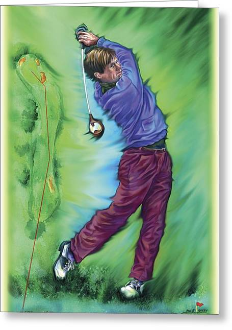 Physical Skill Greeting Cards - Illustration Of A Golfer Greeting Card by Design Pics Eye Traveller