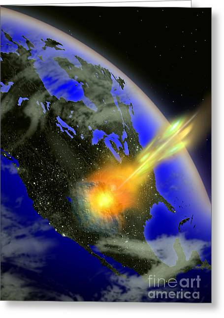 Meteor Greeting Cards - Illustration Of A Meteor Impact Greeting Card by Mike Agliolo