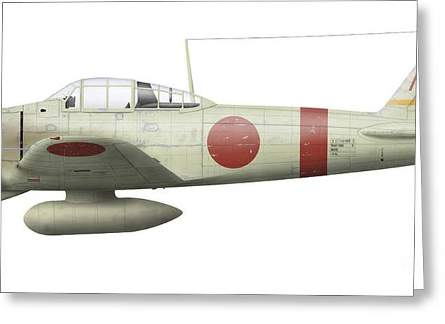 Old Objects Greeting Cards - Illustration Of A Mitsubishi A6m2 Zero Greeting Card by Inkworm