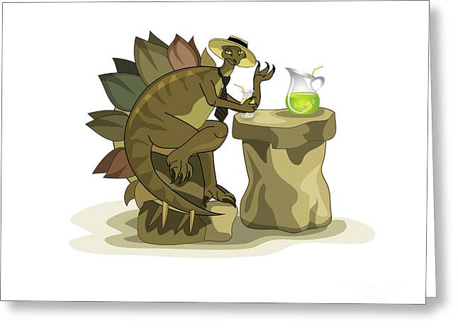 Satisfaction Greeting Cards - Illustration Of A Stegosaurus Drinking Greeting Card by Stocktrek Images