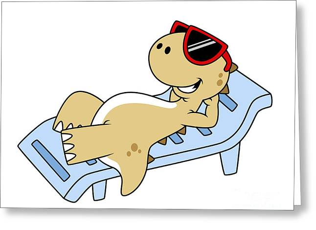 Lawn Chair Greeting Cards - Illustration Of A Sunbathing Greeting Card by Stocktrek Images