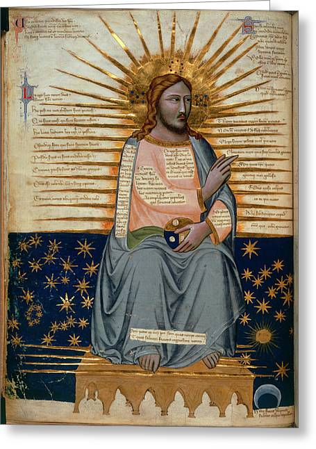 Illustration Of Christ In Heaven Greeting Card by British Library