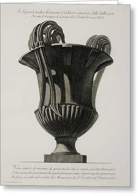 Illustration Of Classical Urn Greeting Card by British Library