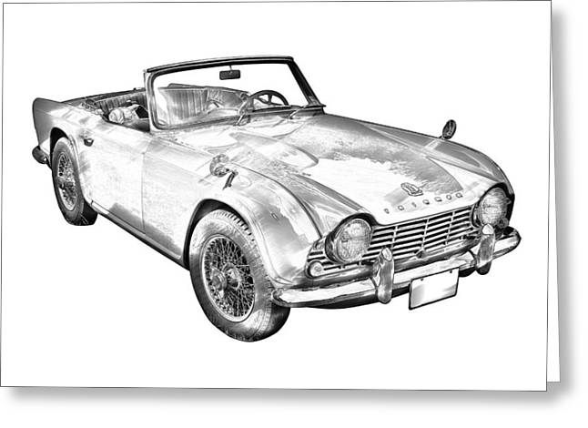 British Motor Car Greeting Cards - Illustration Of Triumph Tr4 Sports Car Greeting Card by Keith Webber Jr