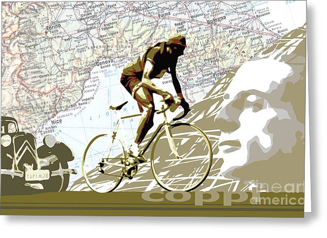 Vintage Bicycle Greeting Cards - Illustration print Giro de Italia Coppi vintage map cycling Greeting Card by Sassan Filsoof