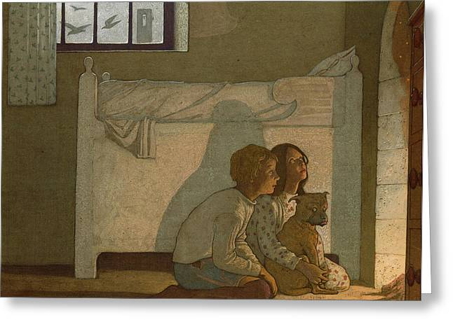 Book Illustrations Greeting Cards - Illustration To Maeterlincks The Bluebird Children Recounting Their Adventures Greeting Card by Frederick Cayley Robinson