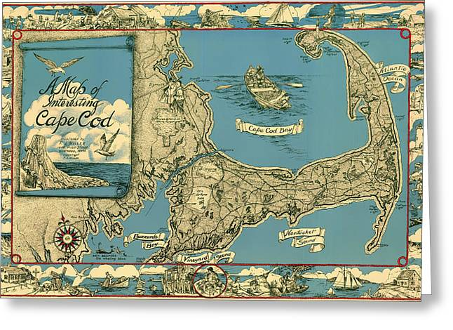 Old Country Roads Drawings Greeting Cards - Illustrative Map of Cape Cod 1945 Greeting Card by Mountain Dreams