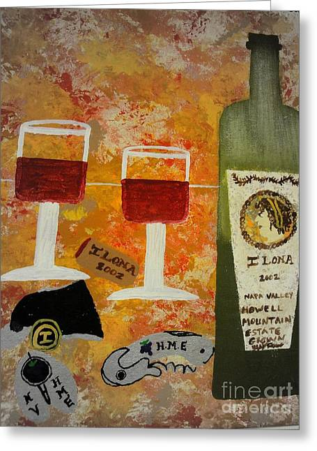 Red Wine Prints Mixed Media Greeting Cards - Ilona Wine Greeting Card by Dori Meyers