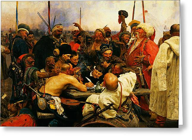 Malevich Greeting Cards - Ilya Repin 3 Reply Of The Zaporozhian Cossacks To Sultan Mehmed Iv Of Ottoman Empire1 Greeting Card by MotionAge Designs