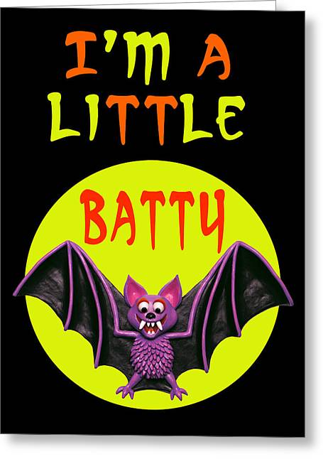 Little Boy Mixed Media Greeting Cards - Im A Little Batty Greeting Card by Amy Vangsgard