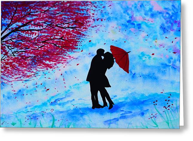 Umbrellas Pastels Greeting Cards - Im all yours Greeting Card by Dira Pastel
